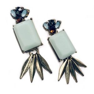 J Crew fan earring w/crystal and metal details